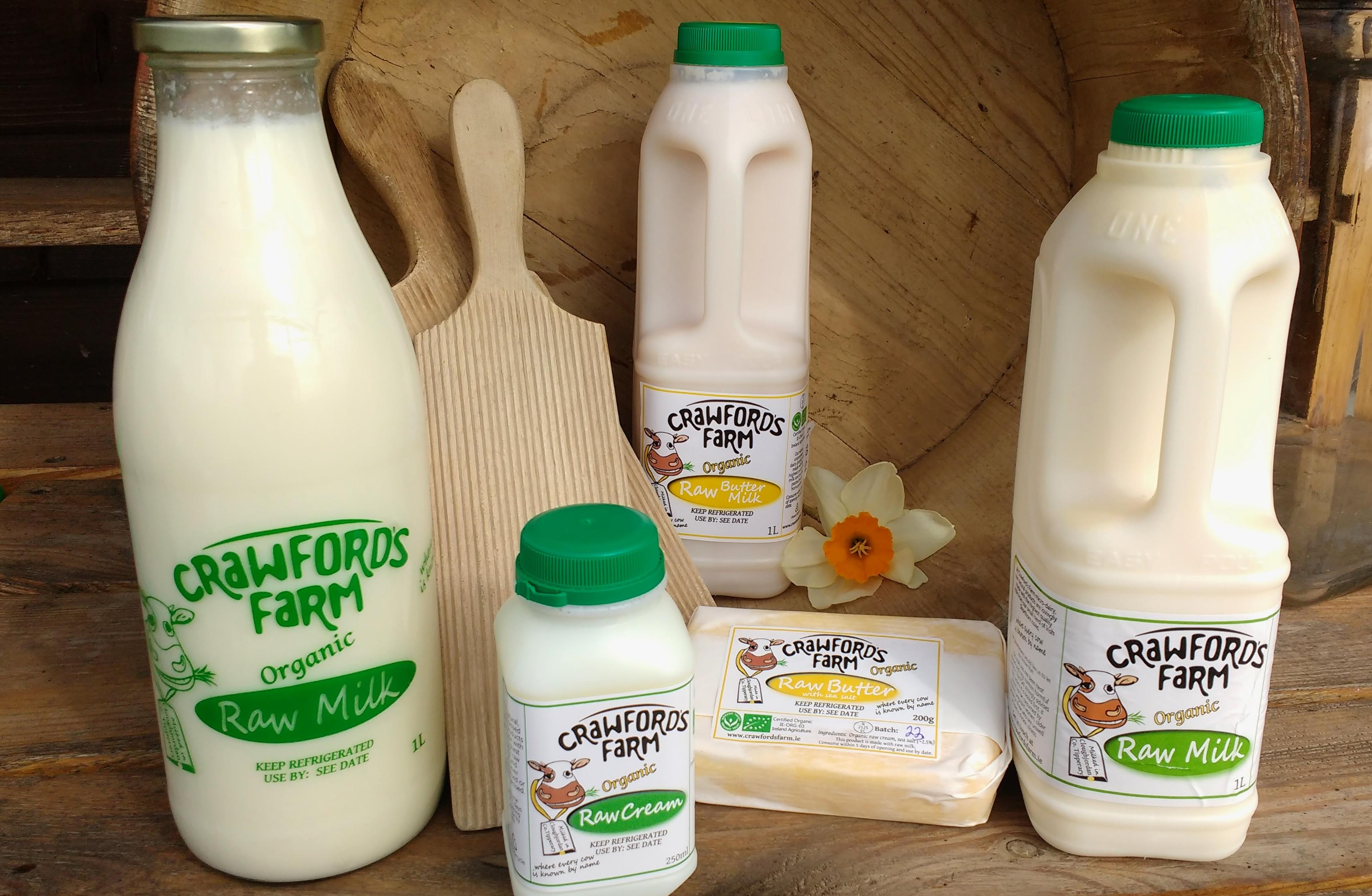 Organic raw milk, organic raw cream, organic raw butter, organic raw buttermilk